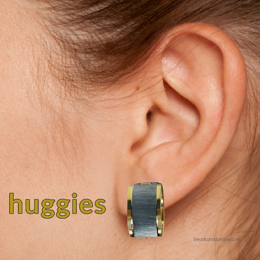 Stainless Steel Two Tone Round Huggies Hoop Earrings