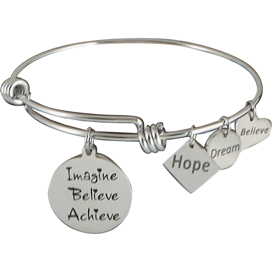 Stainless Steel Expandable Charm Bangle Bracelet Imagine Believe Achieve - Beads and Dangles