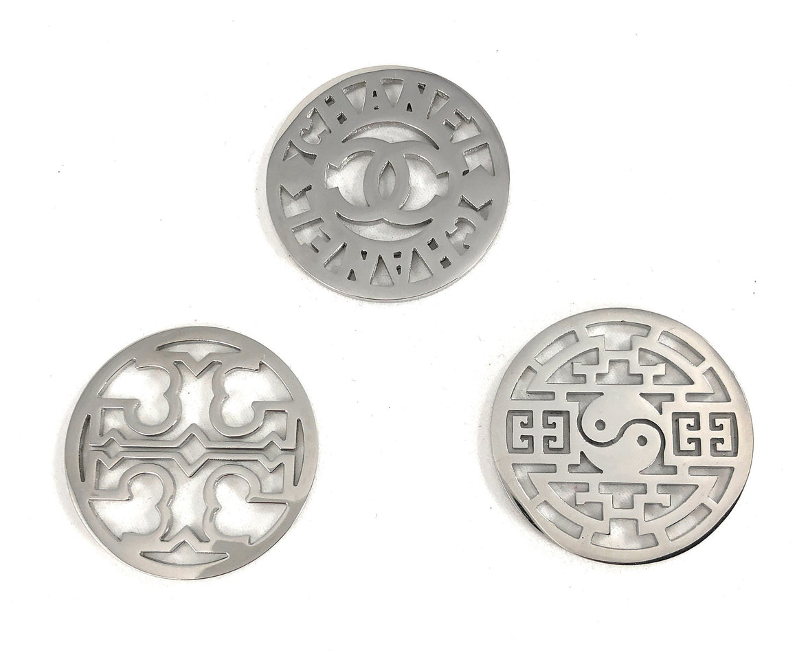 Coin Discs Set of 3 Stainless Steel 33mm for Interchangeable Coin Lockets - Beads and Dangles