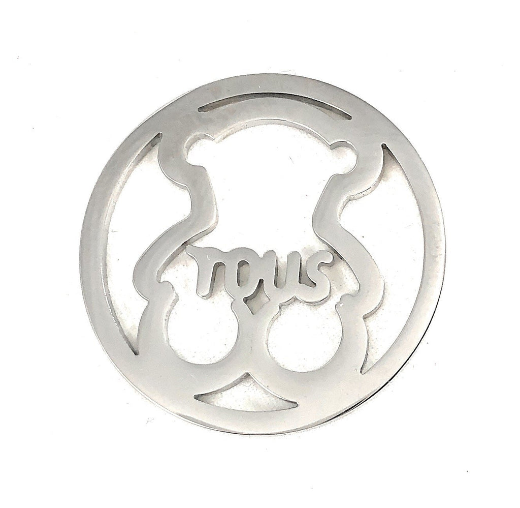 Stainless Steel Coin Disc Cuddly Bear with Tous 33mm