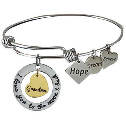 Expandable Bangle I Love You to the Moon and Back Grandma-Gold Center Heart - Beads and Dangles