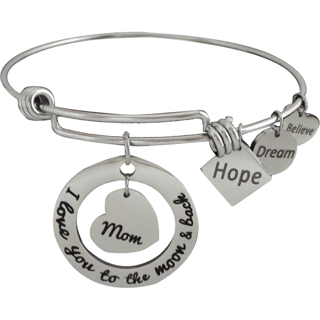 Stainless Steel Expandable Charm Bangle Bracelet I Love You to the Moon and Back Mom - Beads and Dangles