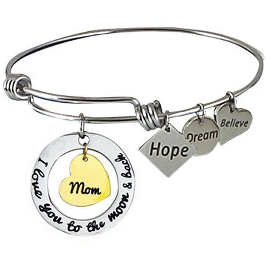 Stainless Steel Expandable Charm Bangle Bracelet I Love You to the Moon and Back Mom-Gold Center Heart - Beads and Dangles