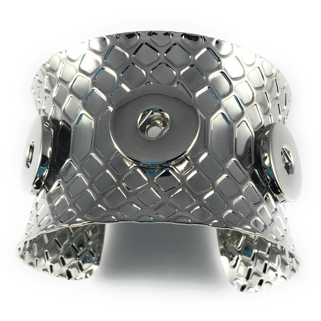 Snap Charm Metal Cuff Wrap Bracelet for 3 Standard Snaps - Adjustable - Beads and Dangles