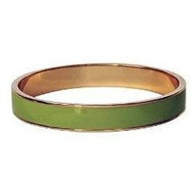 Enamel Bangle Bracelet 16k Gold Plated Lime Green - Beads and Dangles