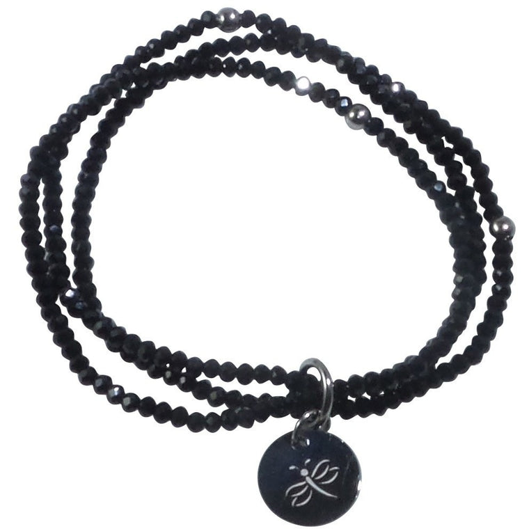 Stretch Bracelet Triple Handcrafted Glass Beads with Stainless Steel Dragonfly Tag (Black) - Beads and Dangles