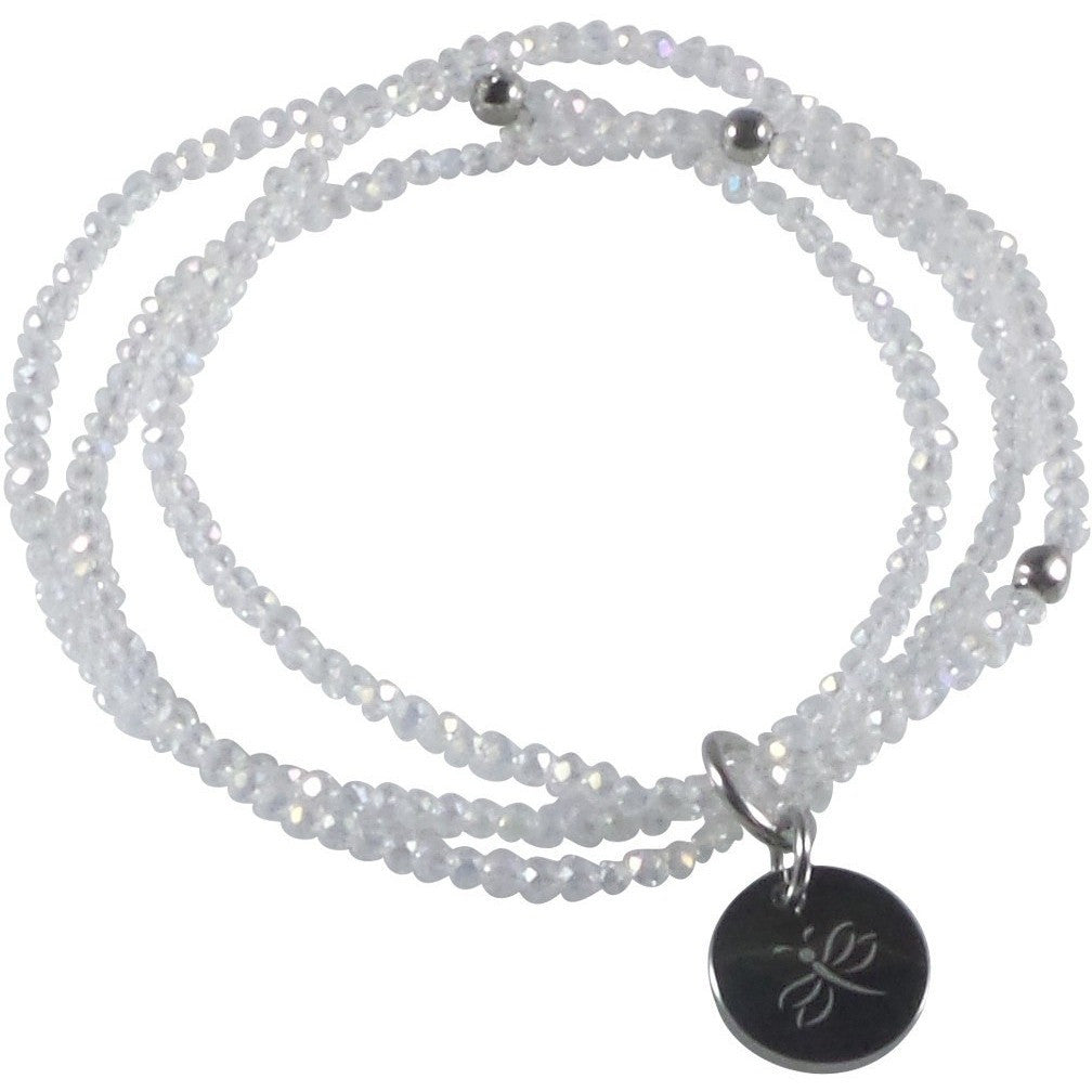 Stretch Bracelet Triple Handcrafted Glass Beads with Stainless Steel Dragonfly Tag (Clear White) - Beads and Dangles