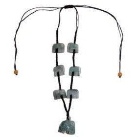 Jade Necklace Green Jade with 7 Hand Carved Elephants adjustable - Beads and Dangles