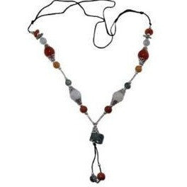 Jade Necklace Multi Color Jade Silver Plate Accents Adjustable - Beads and Dangles