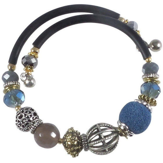 Glass Stone and Charms Memory Wire Wrap Bangle (Blue) - Beads and Dangles