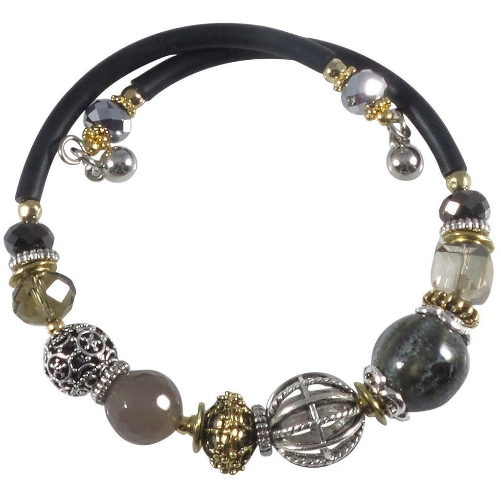 Glass Stone and Charms Memory Wire Wrap Bangle (Gray) - Beads and Dangles