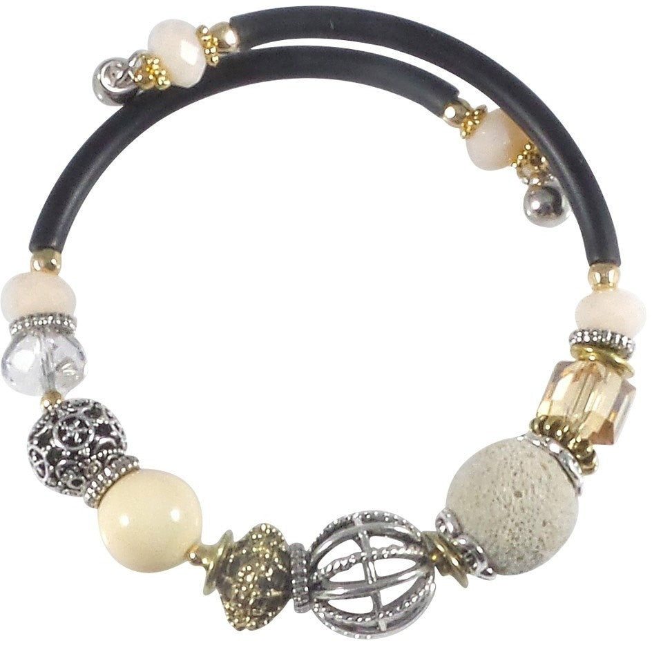 Glass Stone and Charms Memory Wire Wrap Bangle (Ivory) - Beads and Dangles