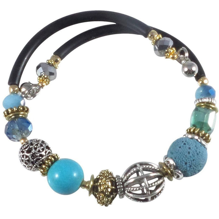 Glass Stone and Charms Memory Wire Wrap Bangle (Turquoise) - Beads and Dangles