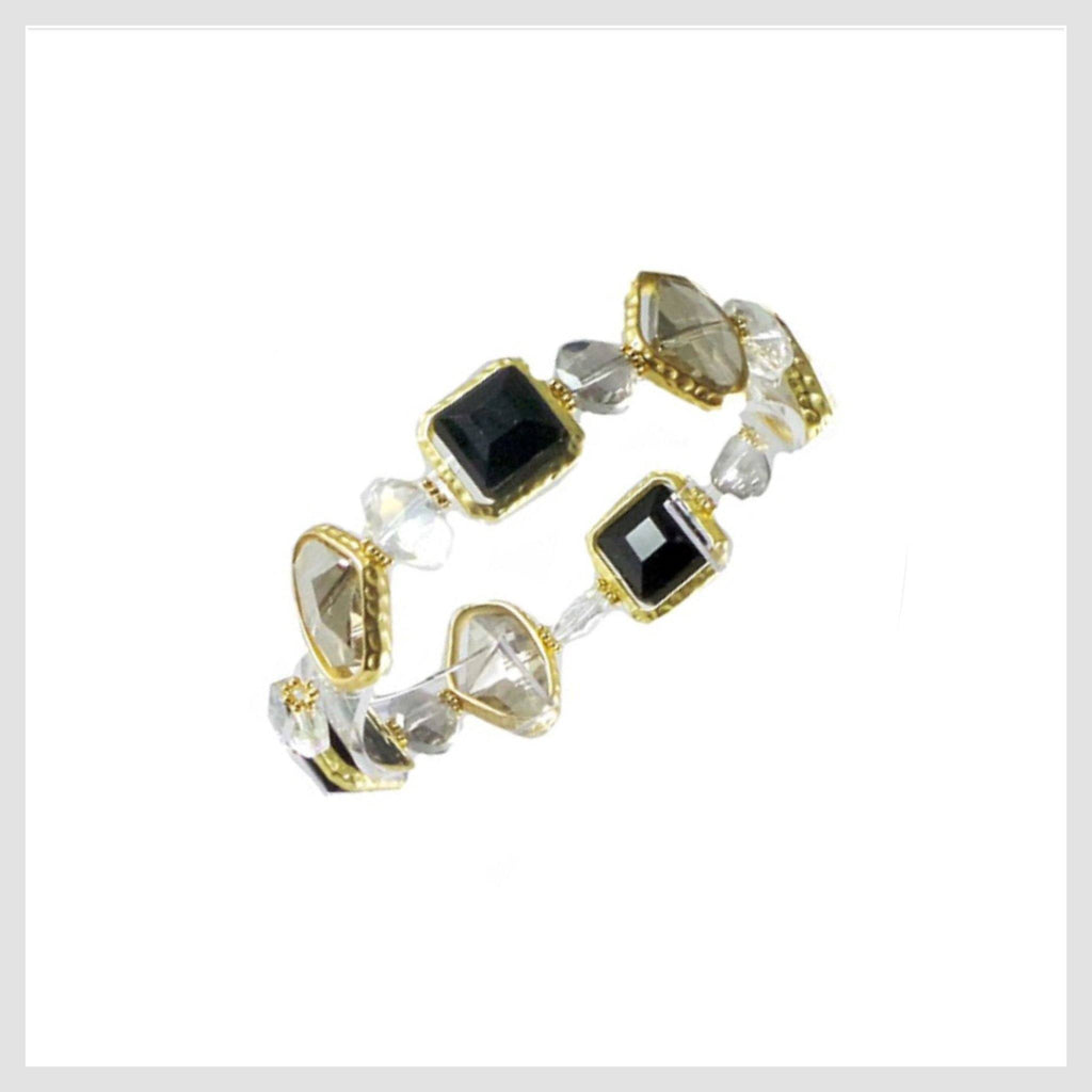 Stretch Bracelet Handcrafted Glass and Crystal Beads (Black)
