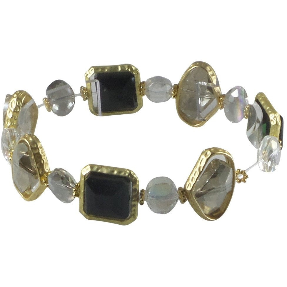 Stretch Bracelet Handcrafted Glass and Crystal Beads (Black) - Beads and Dangles