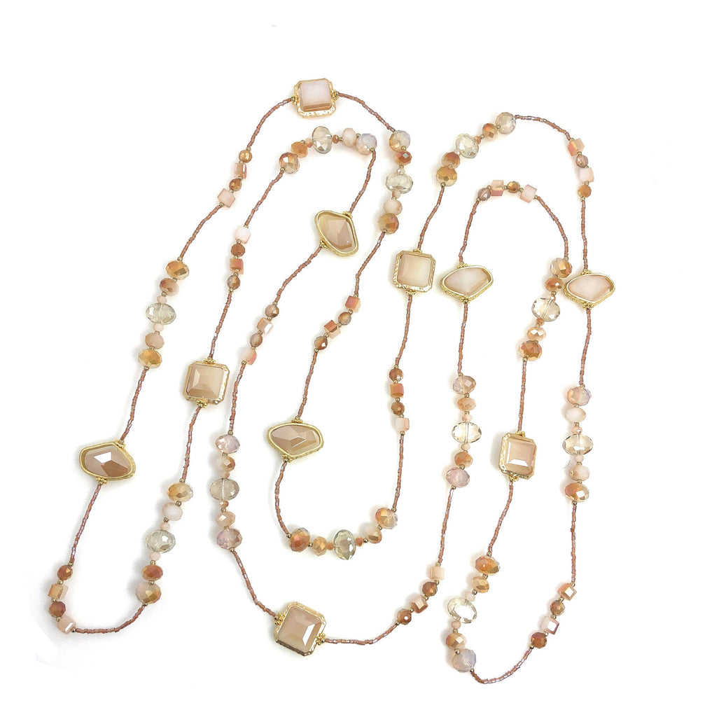 "Statement Necklace 80"" Long Handcrafted Glass and Crystal Beads Pink-Ivory - Beads and Dangles"