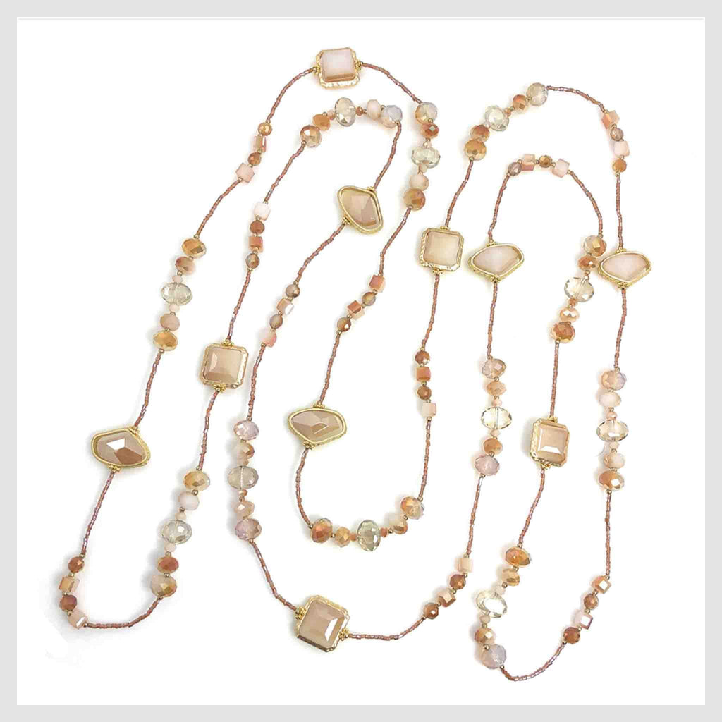 "Statement Necklace 80"" Long Handcrafted Glass and Crystal Beads Pink-Ivory"