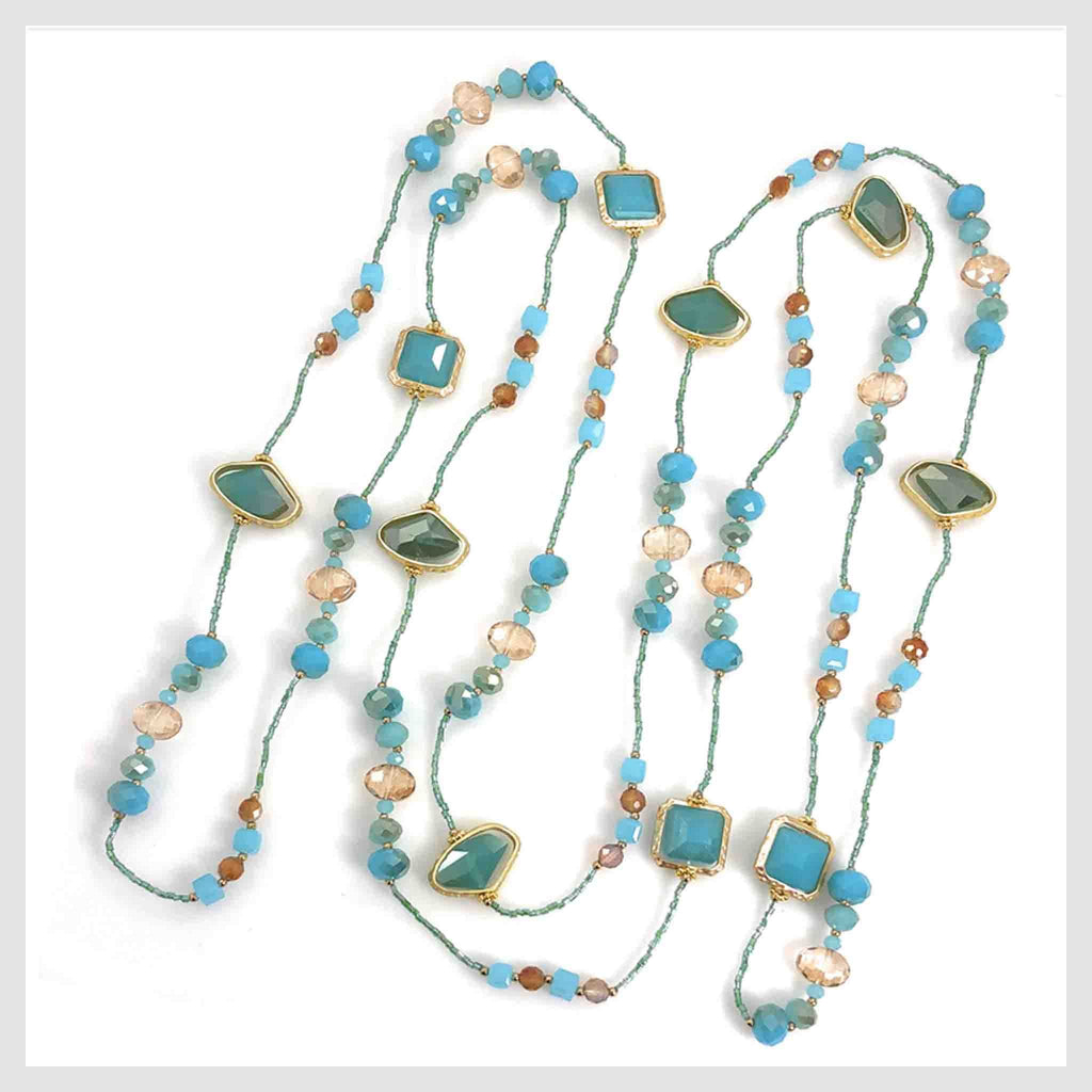 "Statement Necklace 80"" Long Handcrafted Glass and Crystal Beads Turquoise"