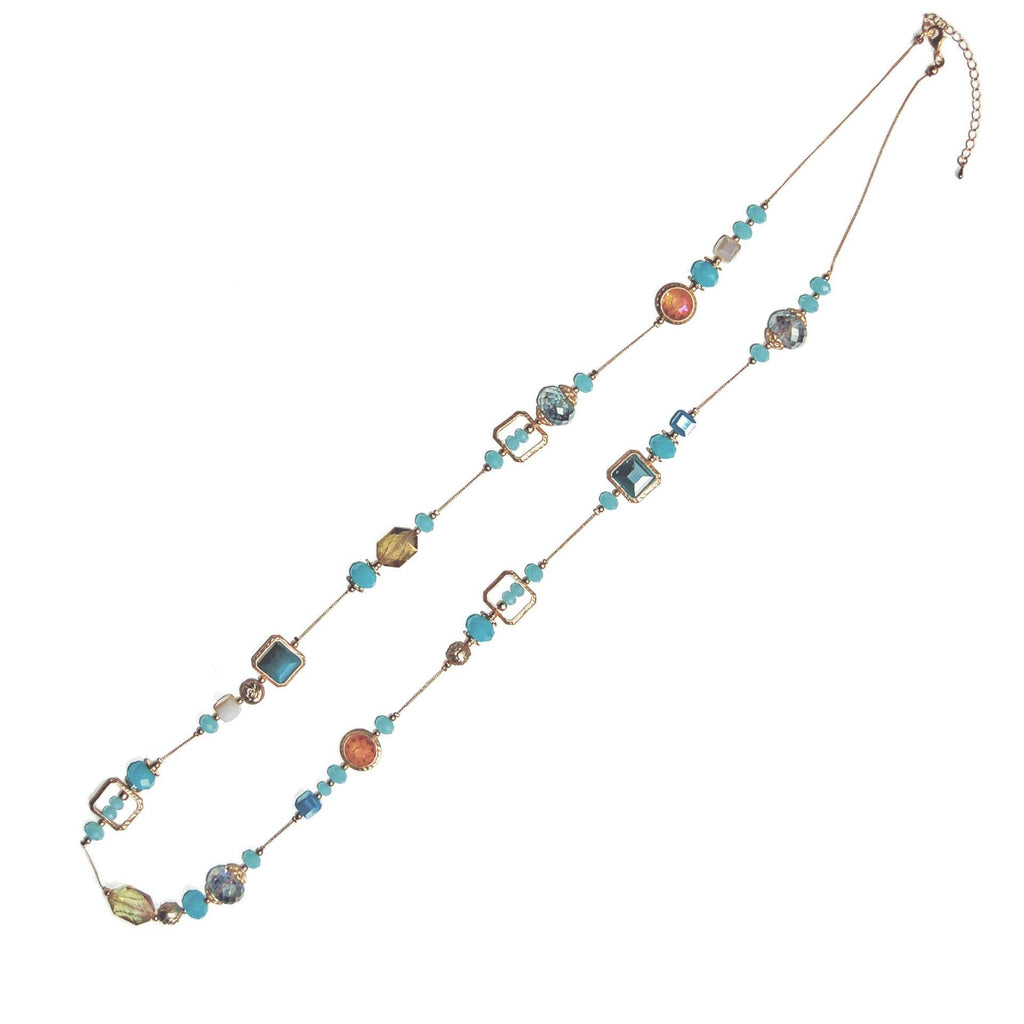 "Necklace Handcrafted Glass and Crystal Beads Turquoise 39"" Long"