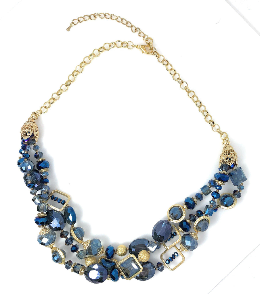 "Necklace Handcrafted Glass and Crystal Beads 23"" Adjustable (Blue)"