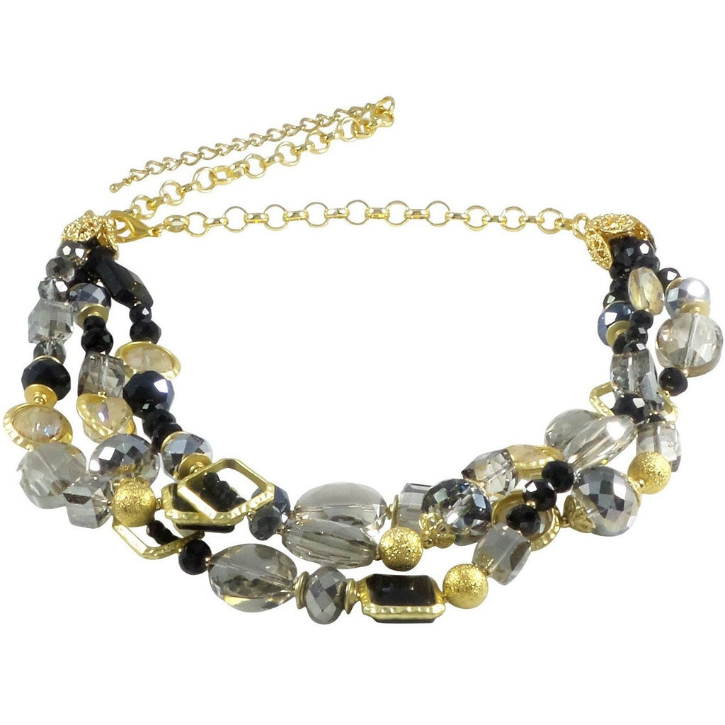 "Necklace Handcrafted Glass and Crystal Beads 23"" Adjustable (Black) - Beads and Dangles"