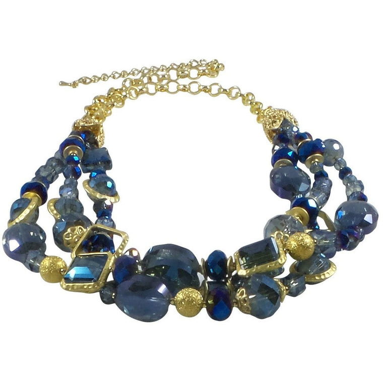 "Necklace Handcrafted Glass and Crystal Beads 23"" Adjustable (Blue) - Beads and Dangles"