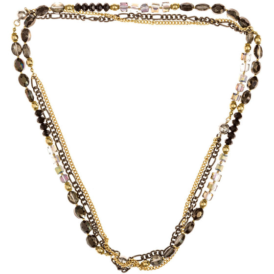 "Magnetic Necklace 3 Strand Handcrafted Black and Clear Crystal Beads 16"" 18"" 20"" - Beads and Dangles - 1"