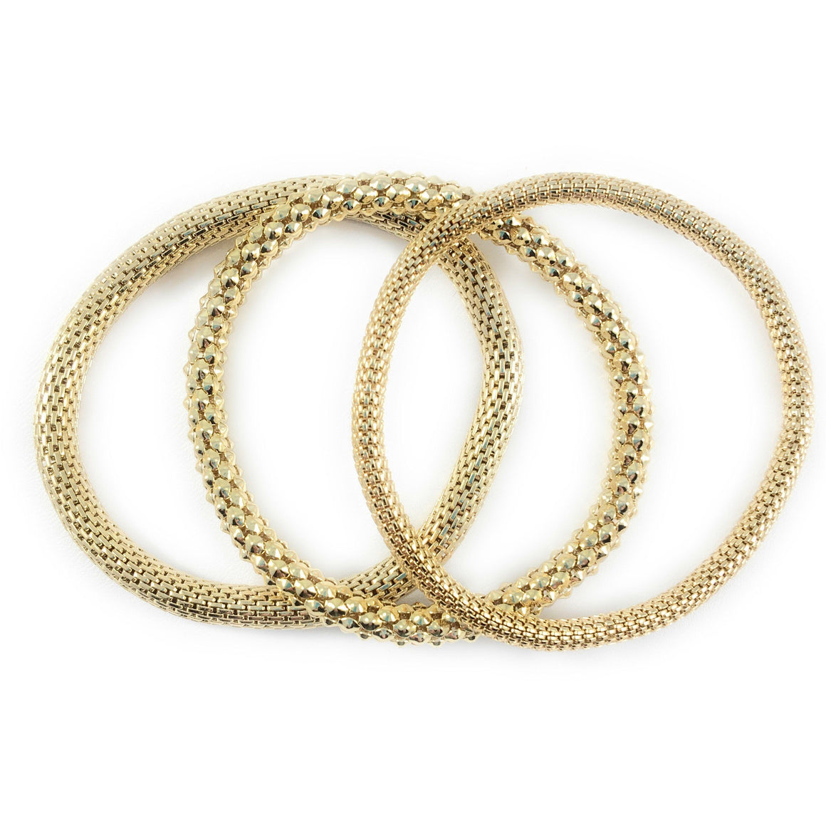 12K Gold Filled Mesh Chain Stretch Bracelet Bracelets Set of 3 (Two 6mm One 4mm) - Beads and Dangles