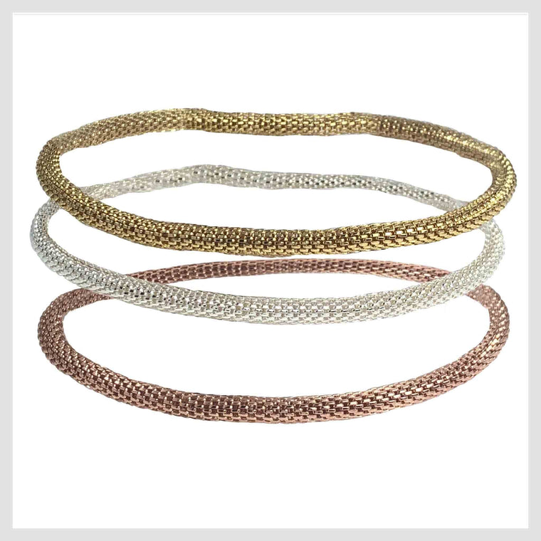Mesh Chain Stretch Bracelets Trio in Rose Gold, 12K Gold and 925 Silver Plated 4MM Set of 3 - Beads and Dangles