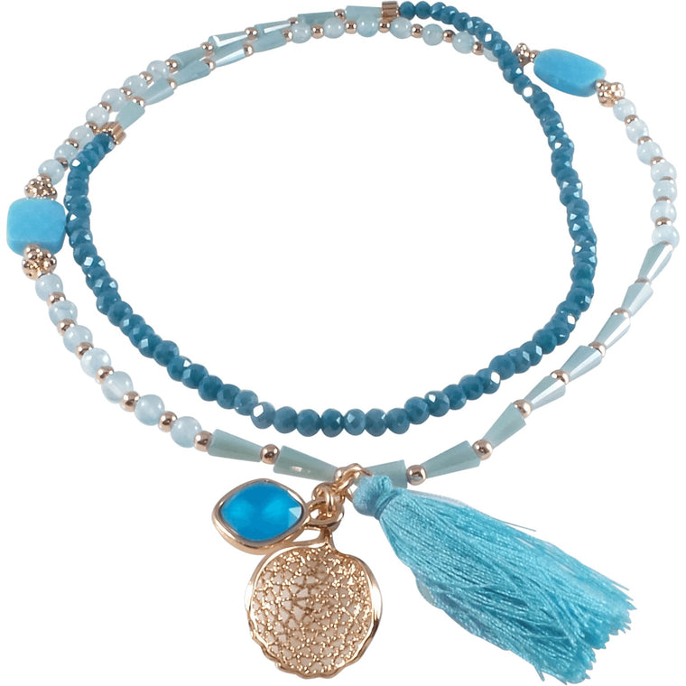 "Stretch Tassel Necklace 30"" Long Handcrafted Glass Beads Blue - Can Also Be Wrapped As A Bracelet! - Beads and Dangles"