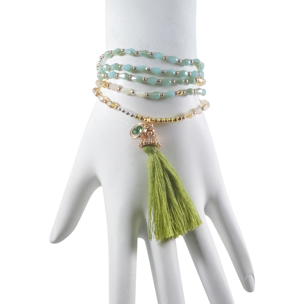 "Stretch Tassel Necklace 30"" Long Handcrafted Glass Beads Green - Can Also Be Wrapped As A Bracelet! - Beads and Dangles"