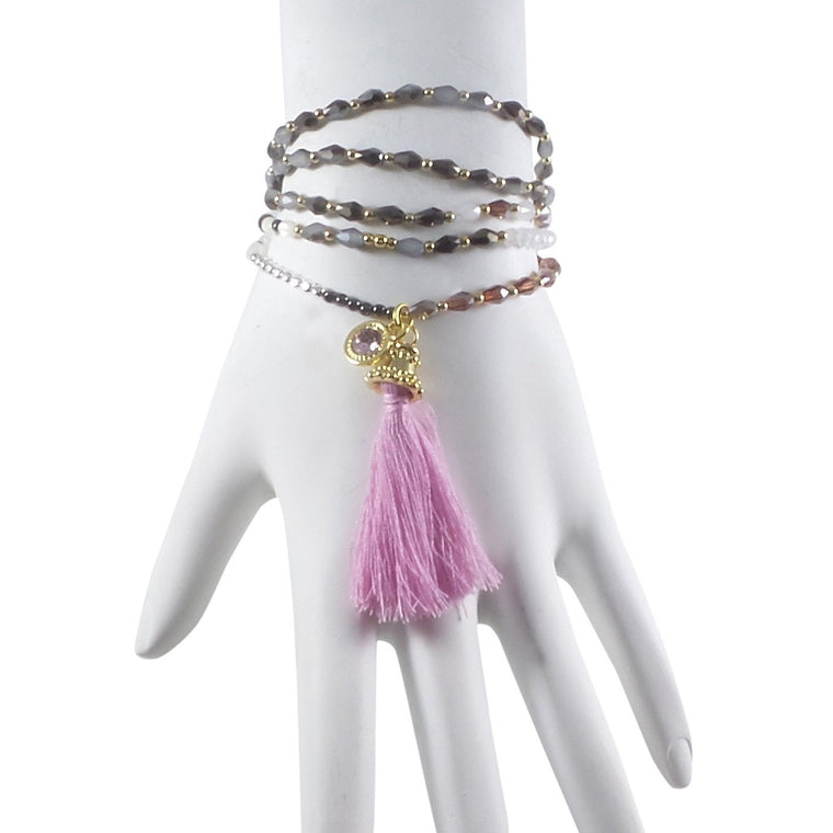 "Stretch Tassel Necklace 30"" Long Handcrafted Glass Beads Purple - Can Also Be Wrapped As A Bracelet! - Beads and Dangles"