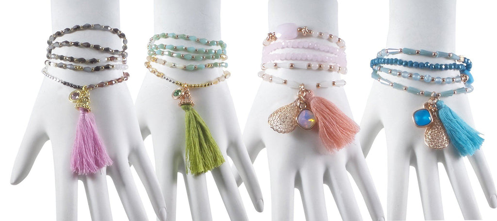 "Stretch Tassel Wrap Bracelet or Necklace 30"" Long Handcrafted Glass Beads Set of 4"