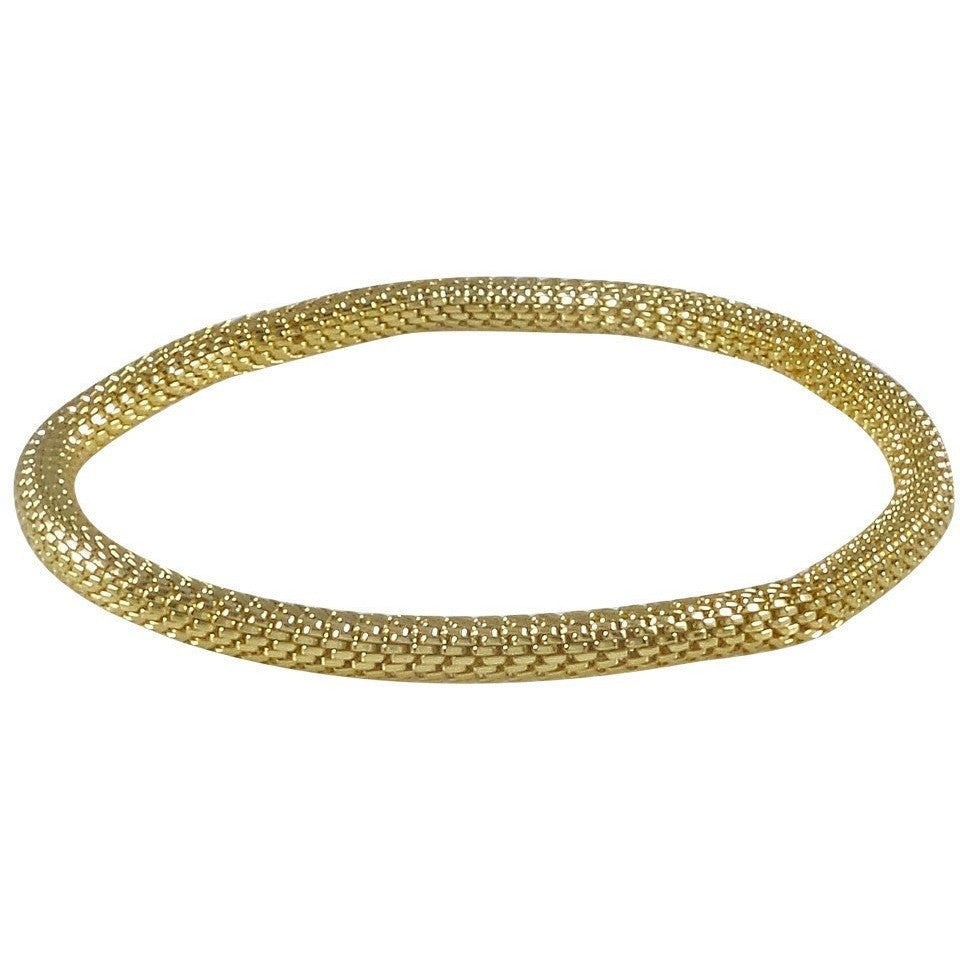 12K Gold Plated Mesh Chain Stretch Bracelet (Gold 4mm Smooth) - Beads and Dangles