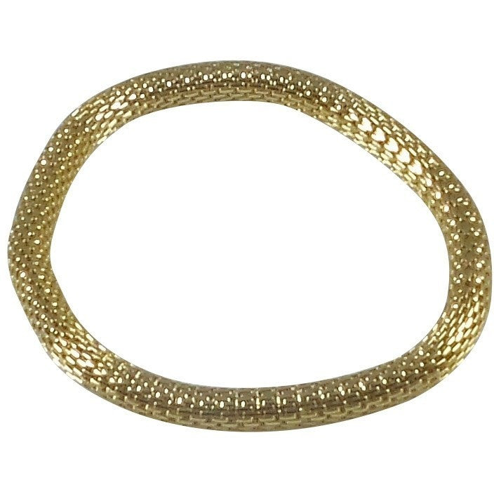 12K Gold Filled Mesh Chain Stretch Bracelet (Gold 6mm Smooth) - Beads and Dangles