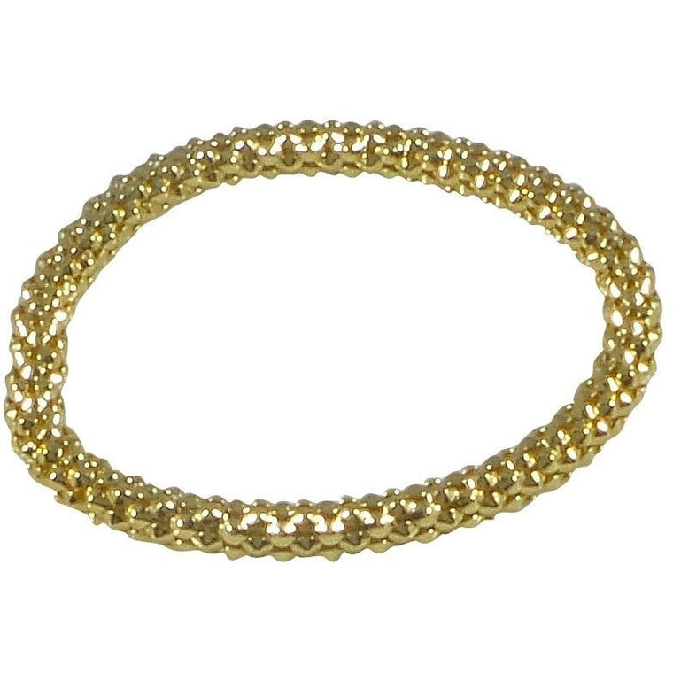 12K Gold Filled Mesh Chain Stretch Bracelet (Gold 6mm Textured) - Beads and Dangles