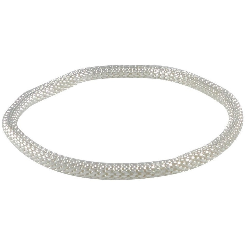 12K Silver Plated Stretch Rolling Bracelet (Silver 4mm Smooth) - Beads and Dangles