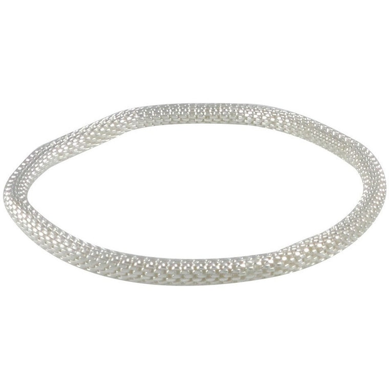 925 Sterling Silver Filled Mesh Chain Stretch Bracelet (Silver 4mm Smooth) - Beads and Dangles