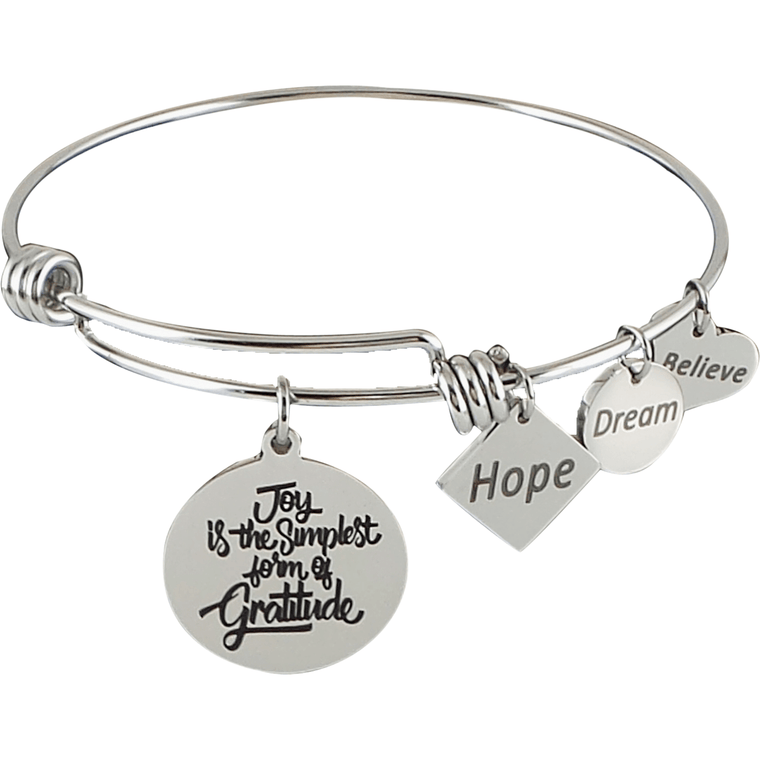 Expandable Bangle Joy is the Simplest Form of Gratitude - Beads and Dangles