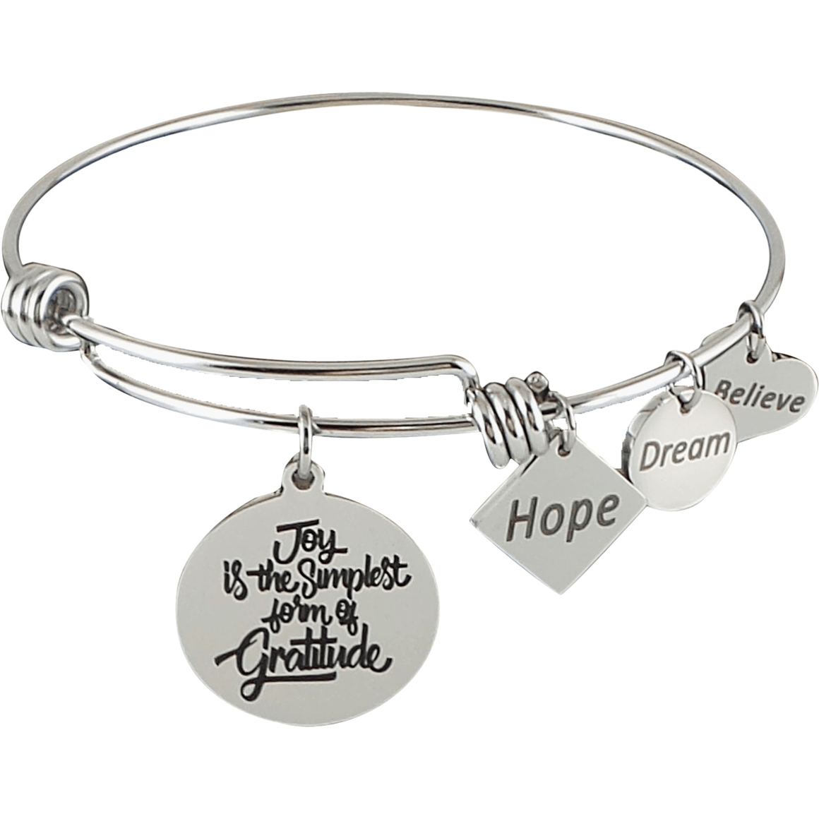 Stainless Steel Expandable Charm Bangle Bracelet Joy is the Simplest Form of Gratitude - Beads and Dangles