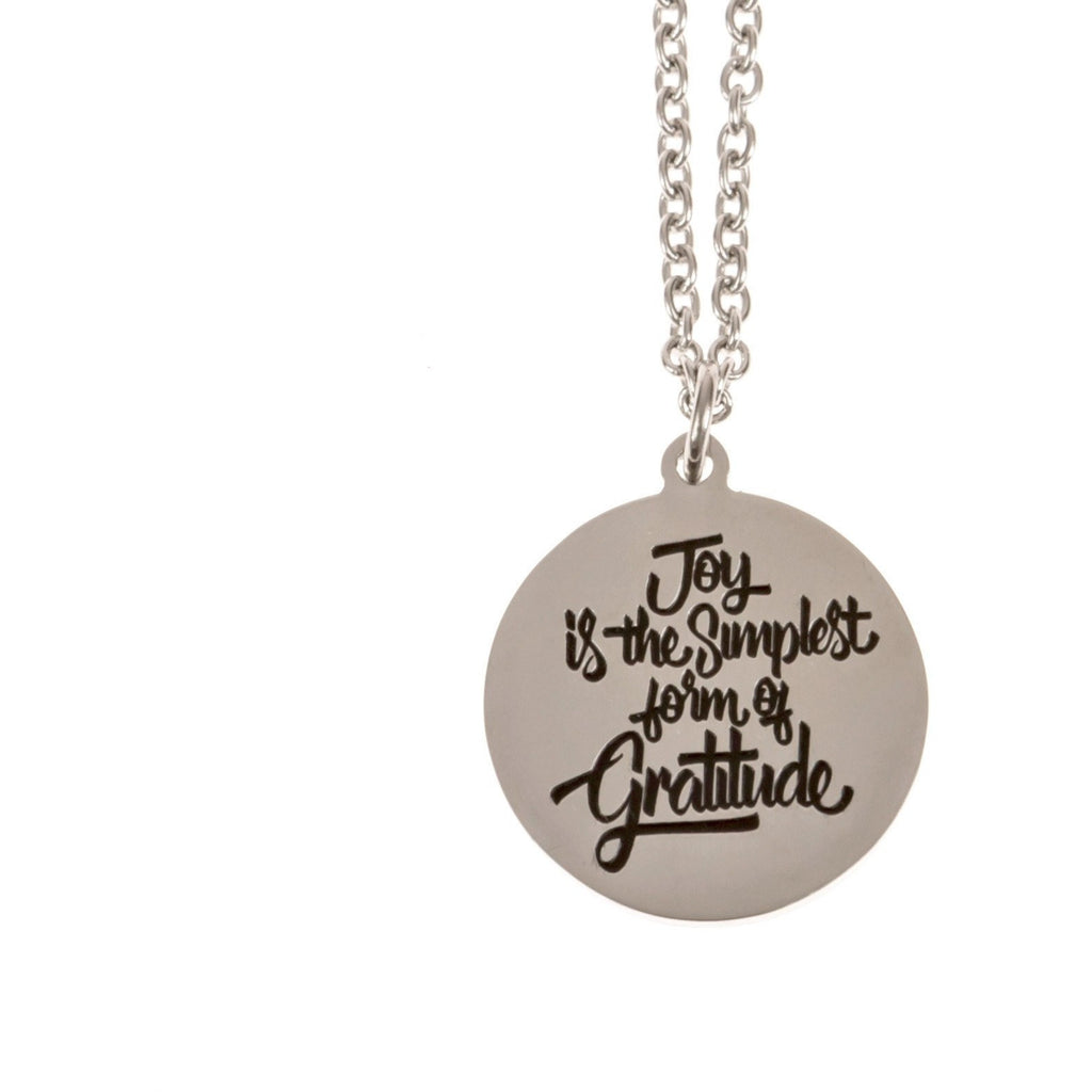 Stainless Steel Charm Necklace Joy is the Simplest Form of Gratitude - Beads and Dangles