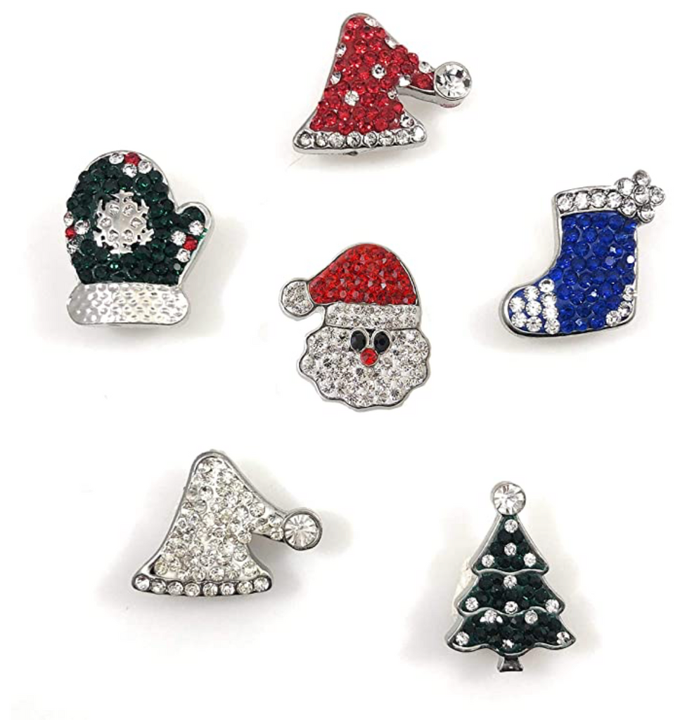 Christmas Set of 6 Bling Snap Charms Standard Size 3/4""