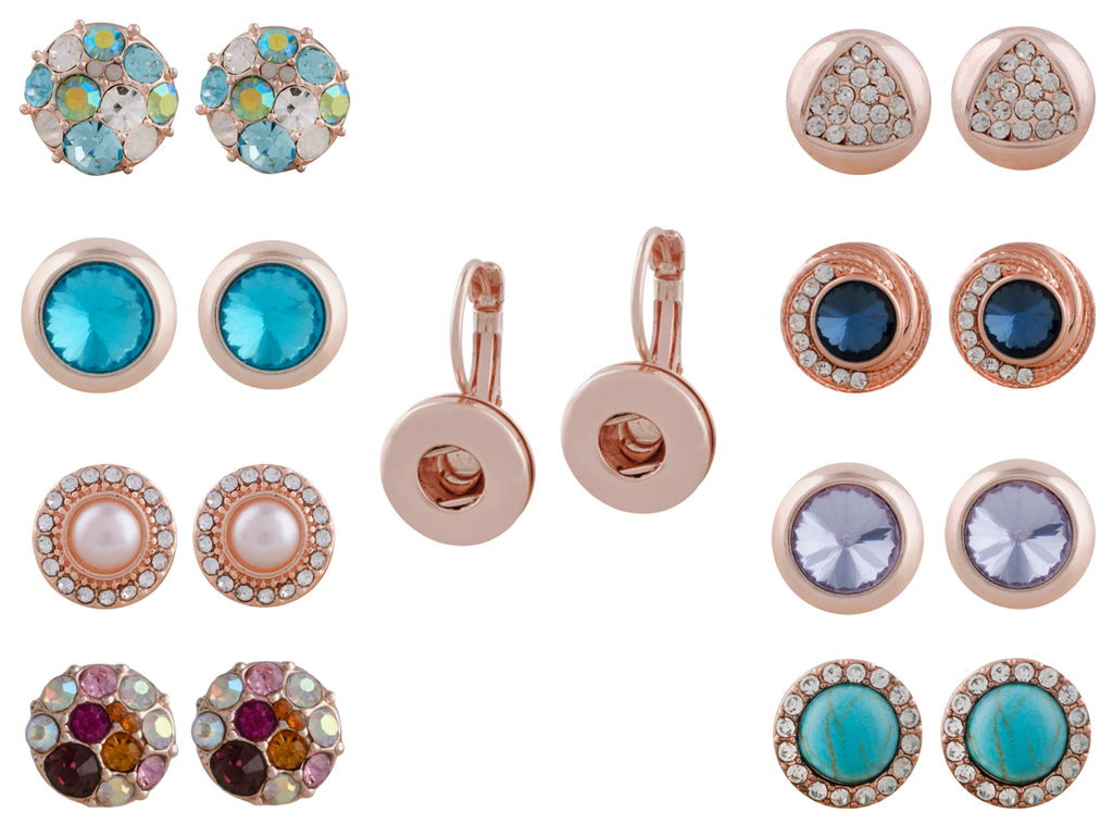 "Mixed Set of 3 Pairs Rose Gold Mini Snaps 12mm 1/2"" Diameter Includes Earrings Shown - Beads and Dangles"