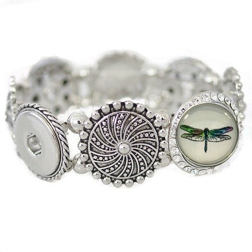 "Chunk Snap Charm Bracelet Stretch Metal for 4 Standard Snaps, includes Dragonfly Snap, 3/4"" Diameter - Beads and Dangles"