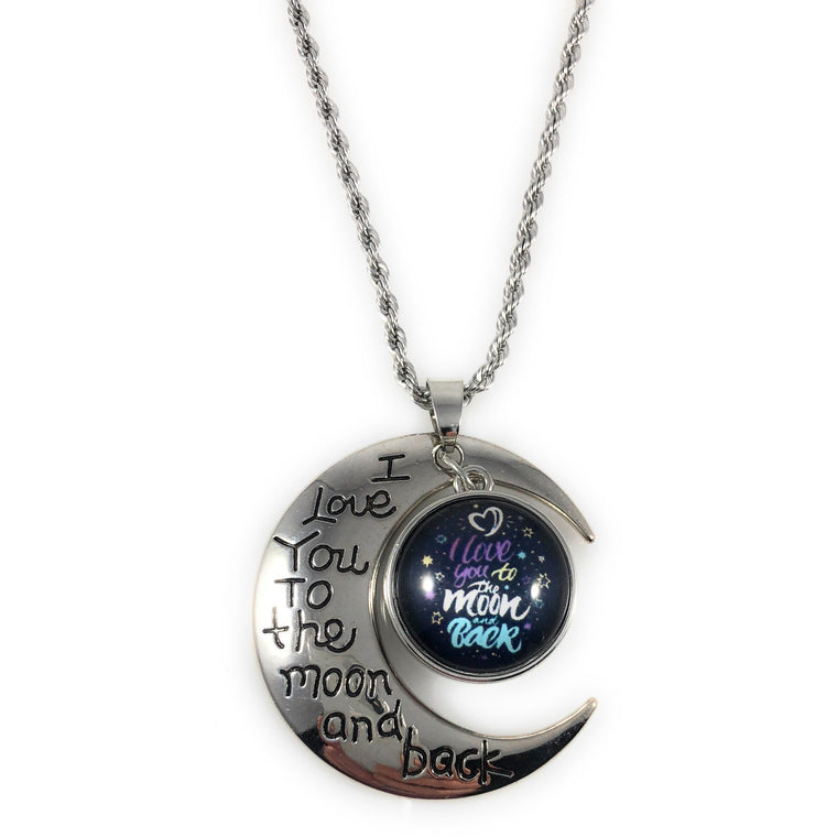 Chunk Snap Charm I Love You to the Moon and Back Pendant-Includes Chain and Snap - Beads and Dangles
