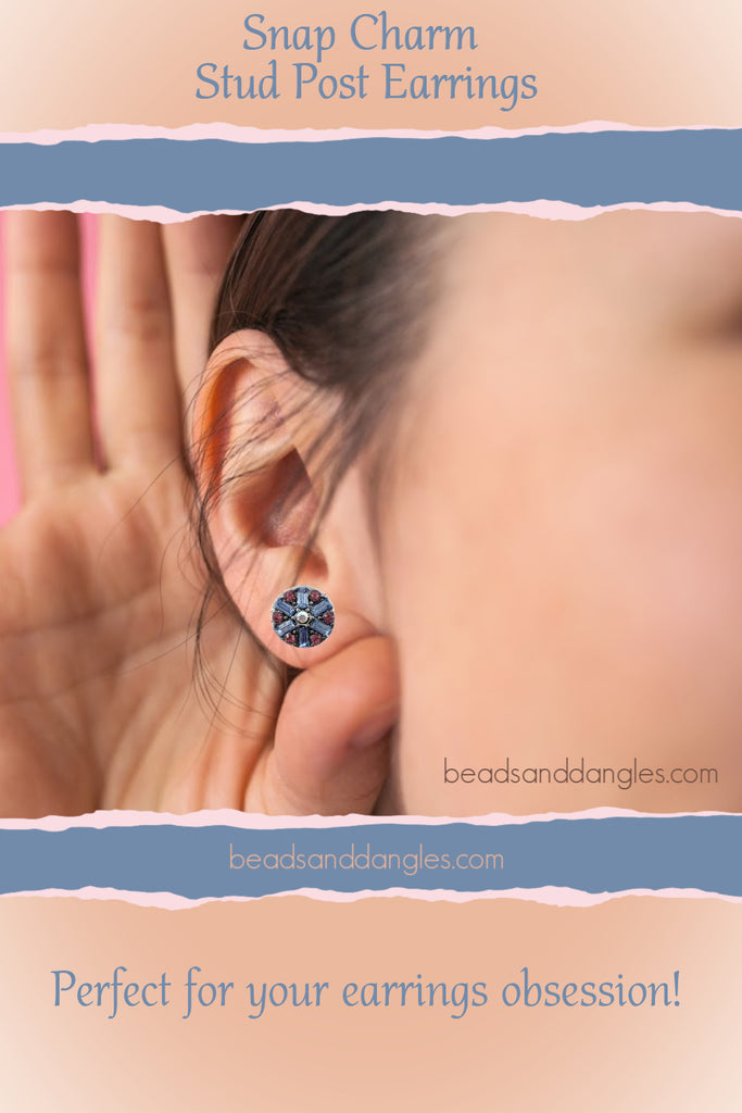 Stud Post Earrings for 12mm Mini Includes Snaps Shown