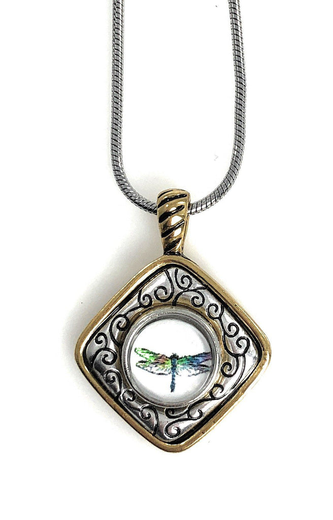 Snap Charm Gold Tone Pendant Dragonfly Snap 12mm Mini