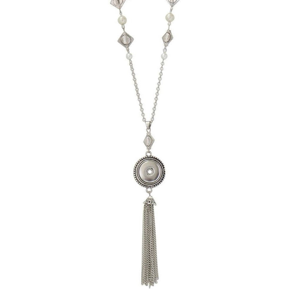 "Snap Pendant Tassel Necklace with Pearls Includes 38"" Chain - Beads and Dangles"