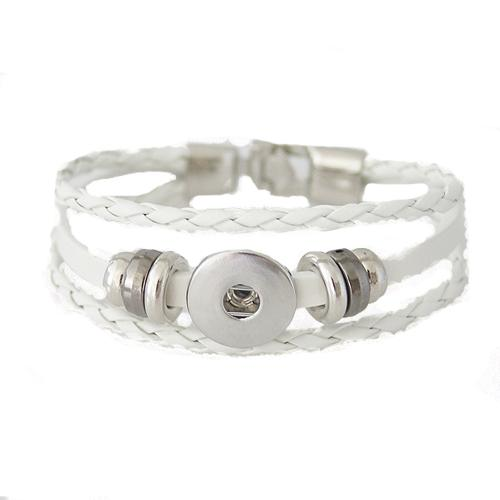 "Leather Snap Braided White 7.9"" - Beads and Dangles"