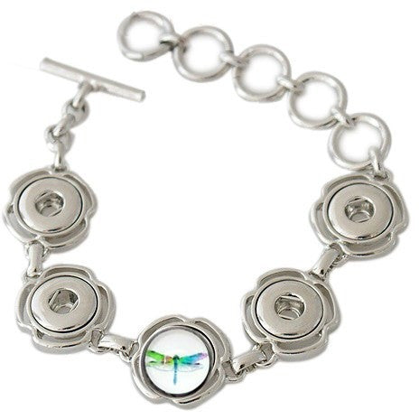 Chunk Snap Metal Bracelet for Five Petite 12mm Snaps Includes Snap Shown-Fits Skinny Adult Wrists - Beads and Dangles